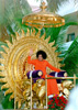 Sathya Sai Baba in pure golden pomp and circumstance