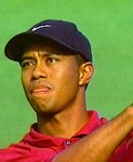 Tiger Woods. Holding His Tongue