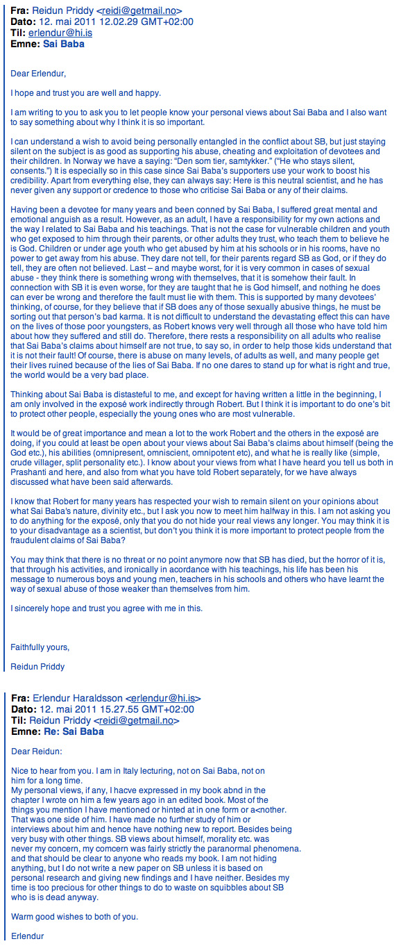 Erlendur's Extraordinary Remark - in an email to Reidun Priddy